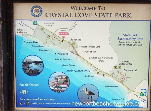 Crystal Cove State Park Newport Beach Map of Beaches